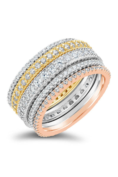 14K Gold Vermeil Sterling Silver Tri-Tone CZ Stacking Ring Set of 5 - Sterling Forever