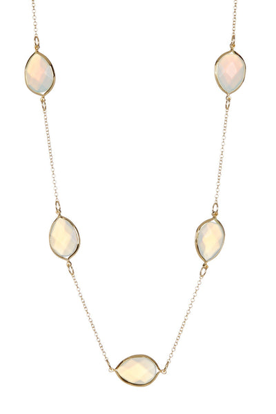 Long 14K Gold Plated Moonstone Station Necklace Necklace Sterling Forever Gold