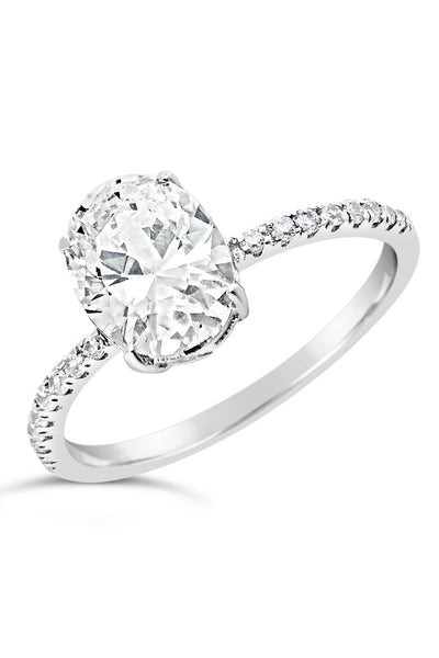 Sterling Silver Cubic Zirconia Oval Ring