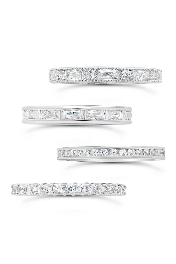 Sterling Silver 4-Piece CZ Detail Stacking Band Set - Sterling Forever