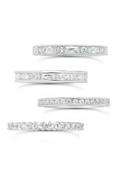 Sterling Silver 4-Piece CZ Detail Stacking Band Set