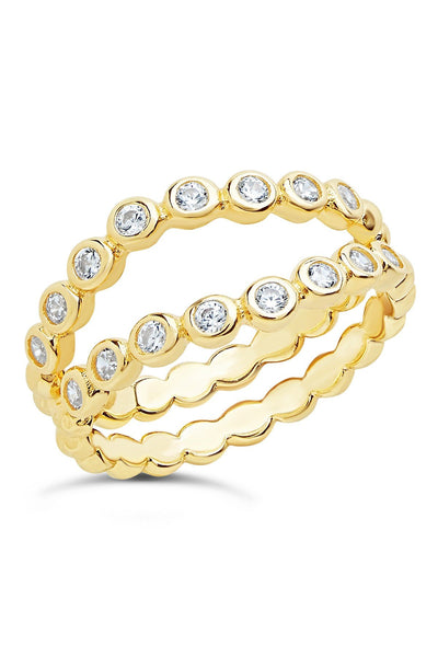 14K Gold Vermeil CZ Stacking Ring Set of 2 - Sterling Forever