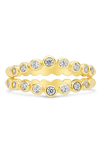 14K Yellow Gold Vermeil CZ Stacking Ring - Set of 2