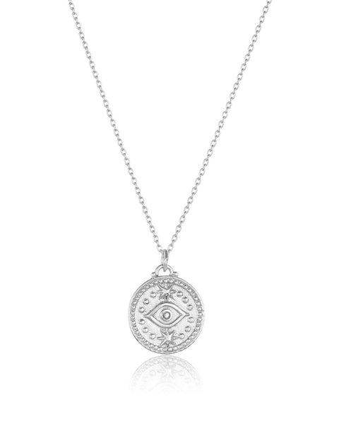 Sterling Silver Round Evil Eye Pendant Necklace Sterling Forever Silver