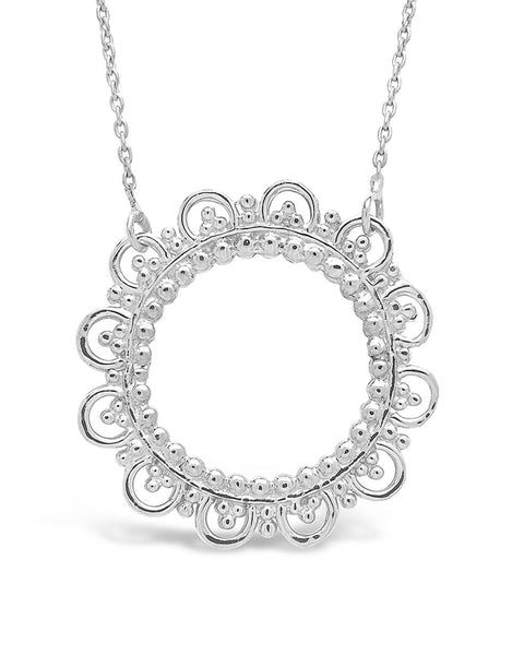 Sterling Silver Lace Circle Pendant Necklace Sterling Forever Silver