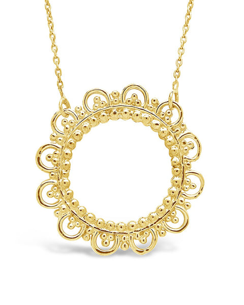 Sterling Silver Lace Circle Pendant Necklace Sterling Forever Gold