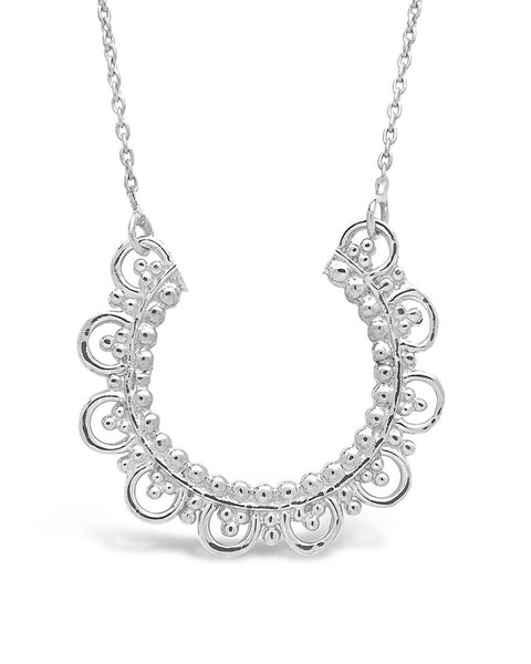 Sterling Silver Embellished Arch Pendant Necklace Sterling Forever Silver