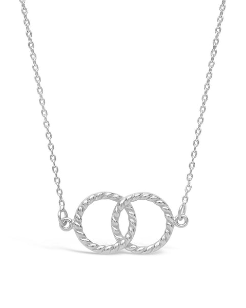 Sterling Silver Interlocking Rope Circles Pendant Necklace Sterling Forever Silver