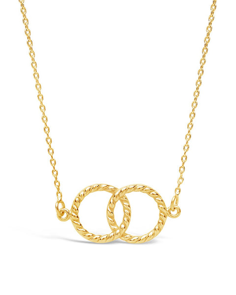 Sterling Silver Interlocking Rope Circles Pendant Necklace Sterling Forever Gold