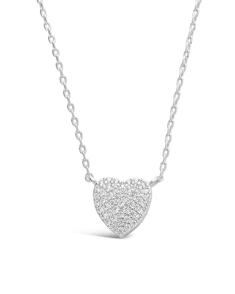 Sterling Silver CZ Heart Pendant Necklace Necklace Sterling Forever Silver