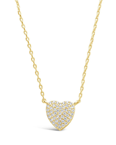 Sterling Silver CZ Heart Pendant Necklace Necklace Sterling Forever Gold