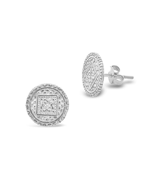 Sterling Silver Engraved Disk Studs