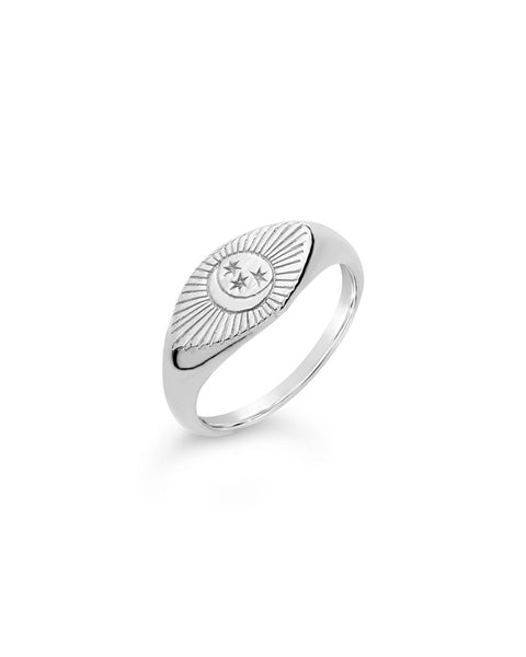 Sterling Silver Starry Nights Eye Signet Ring - Sterling Forever
