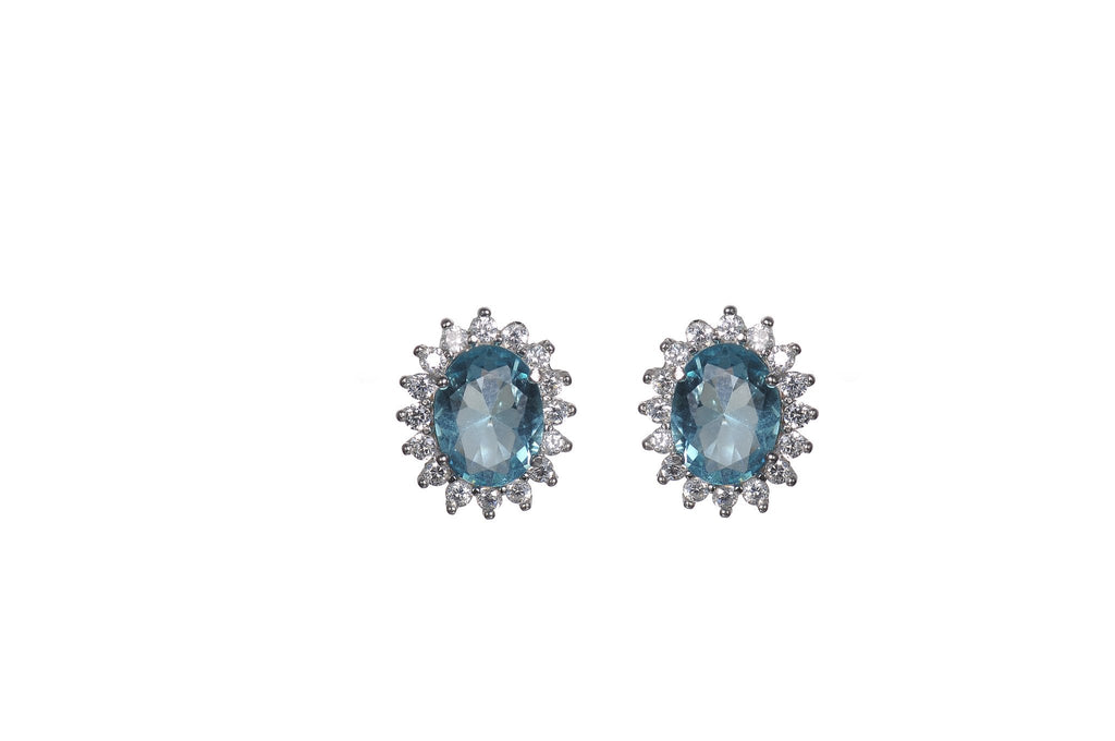 Sterling Silver Aquamarine CZ Stud Earrings
