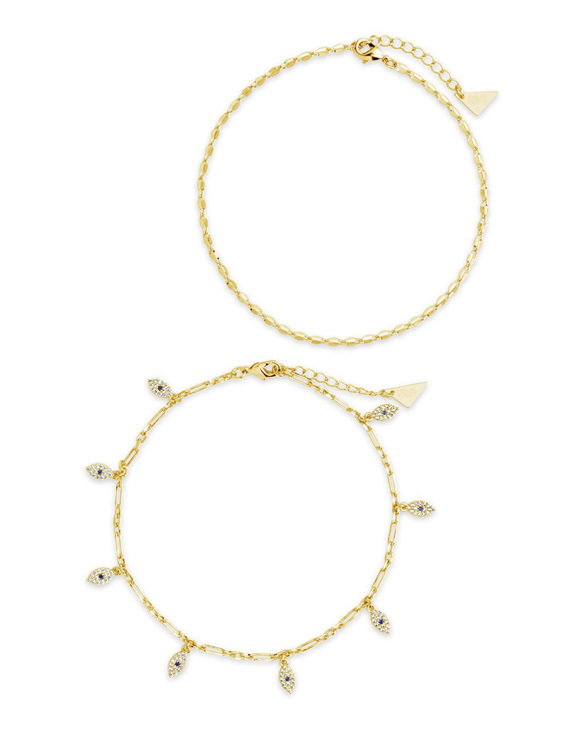 Delicate Evil Eye & Chain Anklet Set Anklet Sterling Forever Gold