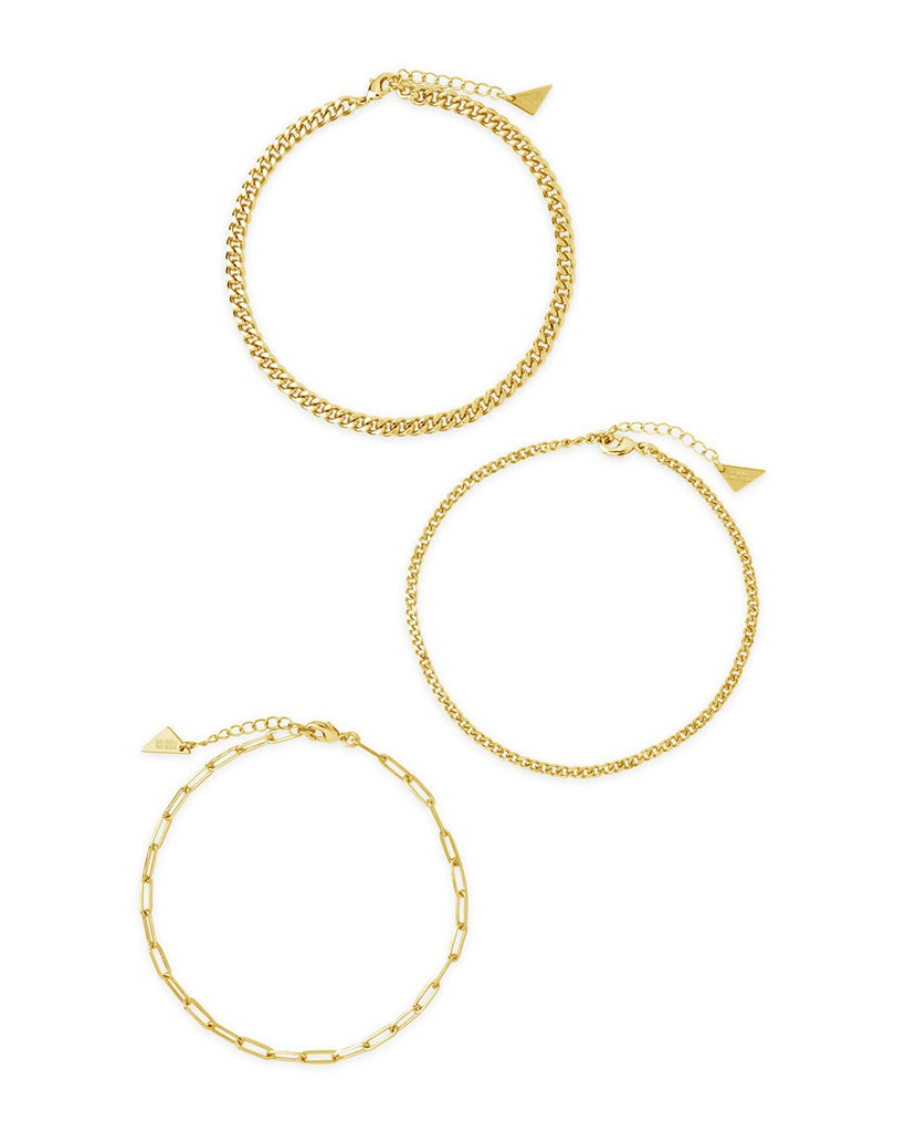 Three Row Chain Anklet Set Anklet Sterling Forever Gold