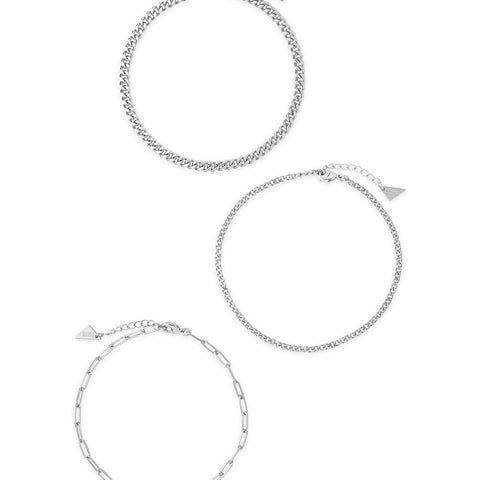Three Row Chain Anklet Set Anklet Sterling Forever Silver