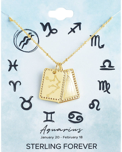 Zodiac Tag Necklace Necklace Sterling Forever Gold Aquarius (Jan 20 - Feb 18)