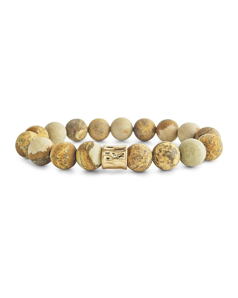 Stone Stretch Bracelet with Hammered Charm - Sterling Forever