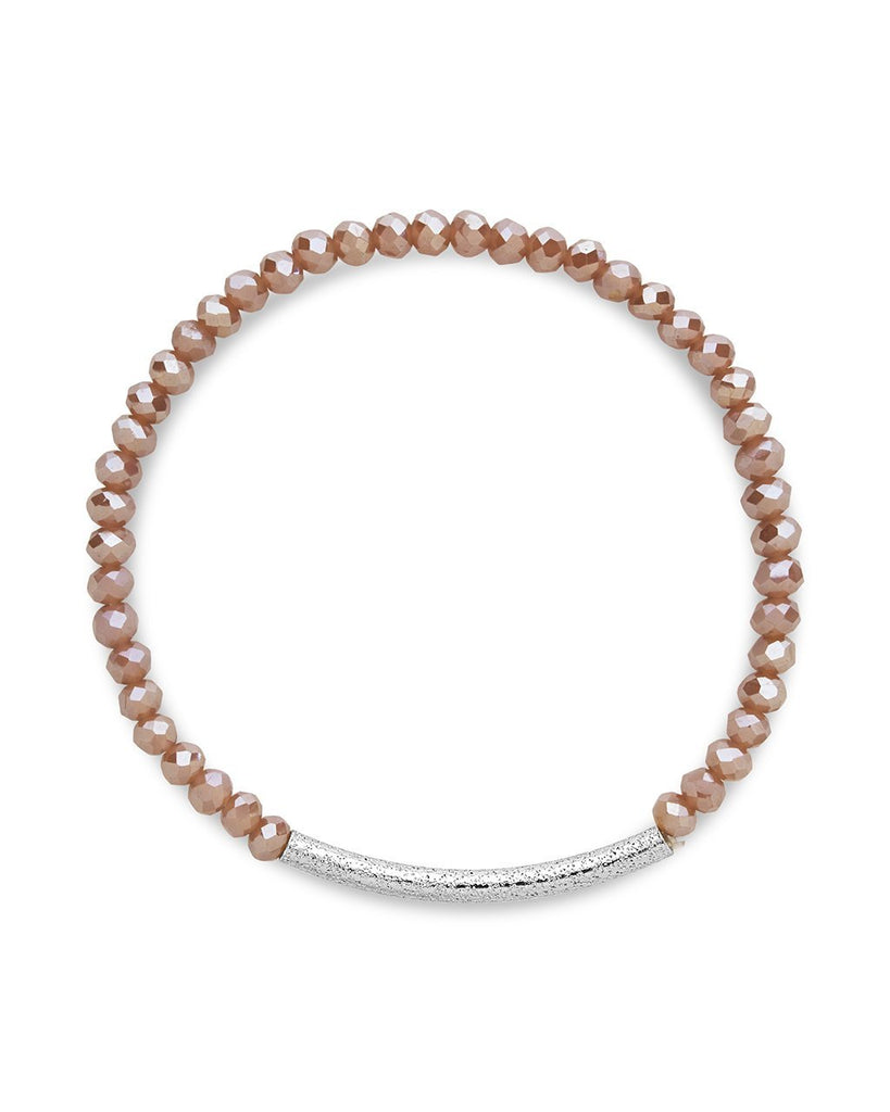 Champagne Beaded Bar Stretch Bracelet - Sterling Forever