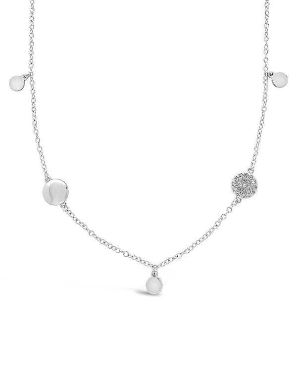 Delicate CZ Disk Station Necklace - Sterling Forever