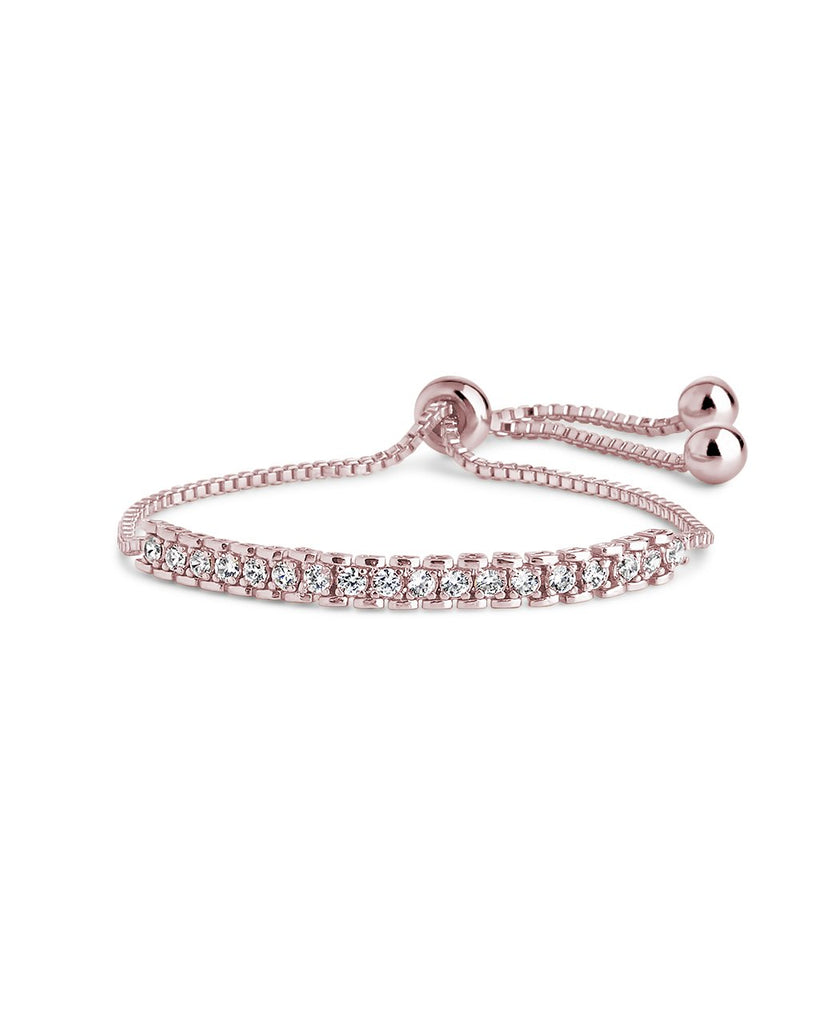 Inlaid CZ Slider Bracelet Bracelet Sterling Forever Rose Gold