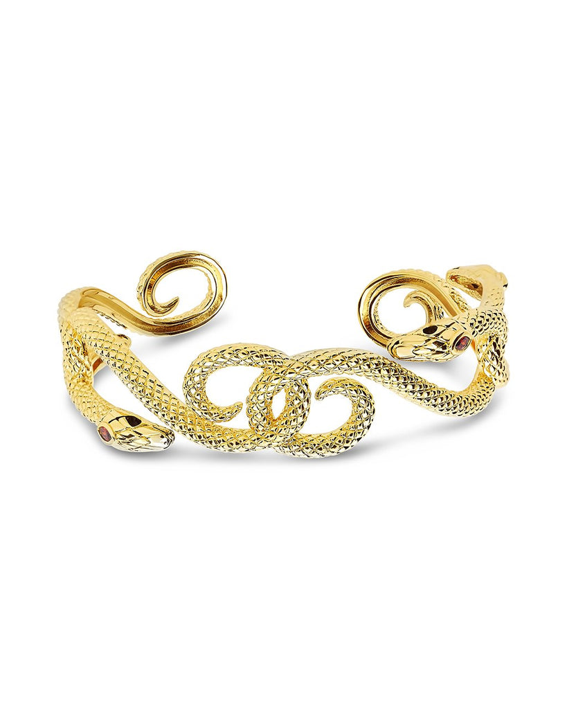 Interlocking Snake Cuff Bracelet Sterling Forever Gold