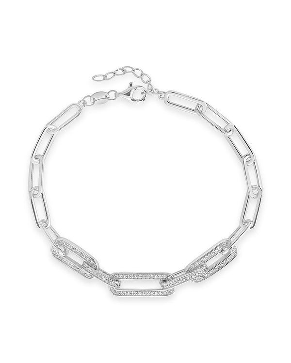 CZ Long Linked Bracelet - Sterling Forever