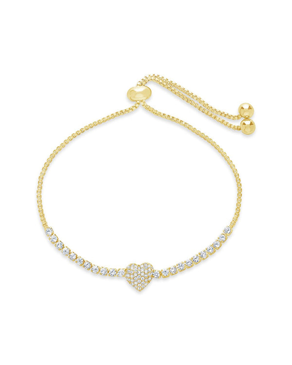 CZ Heart Adjustable Bracelet - Sterling Forever