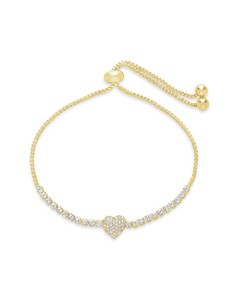 CZ Heart Adjustable Bracelet