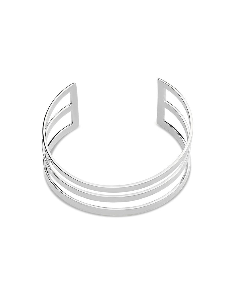 Hammered Triple Row Cuff Bracelet - Sterling Forever