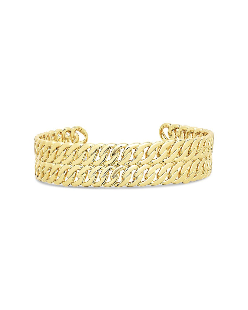 Double Rope Chain Cuff Bracelet Sterling Forever Gold