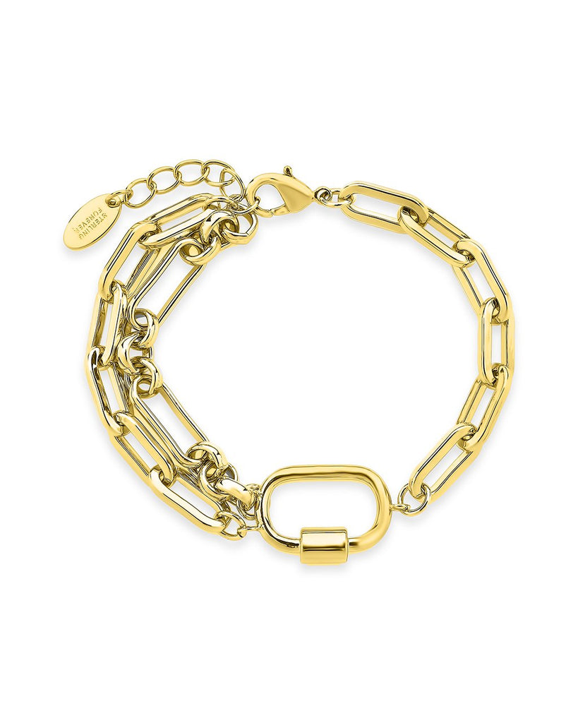 Double Chain Link Polished Carabiner Bracelet Bracelet Sterling Forever Gold