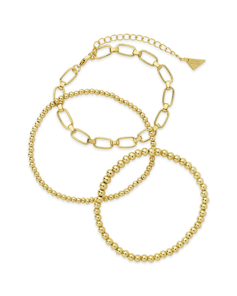 Chain & Bead Bracelet Set of 3 Bracelet Sterling Forever Gold