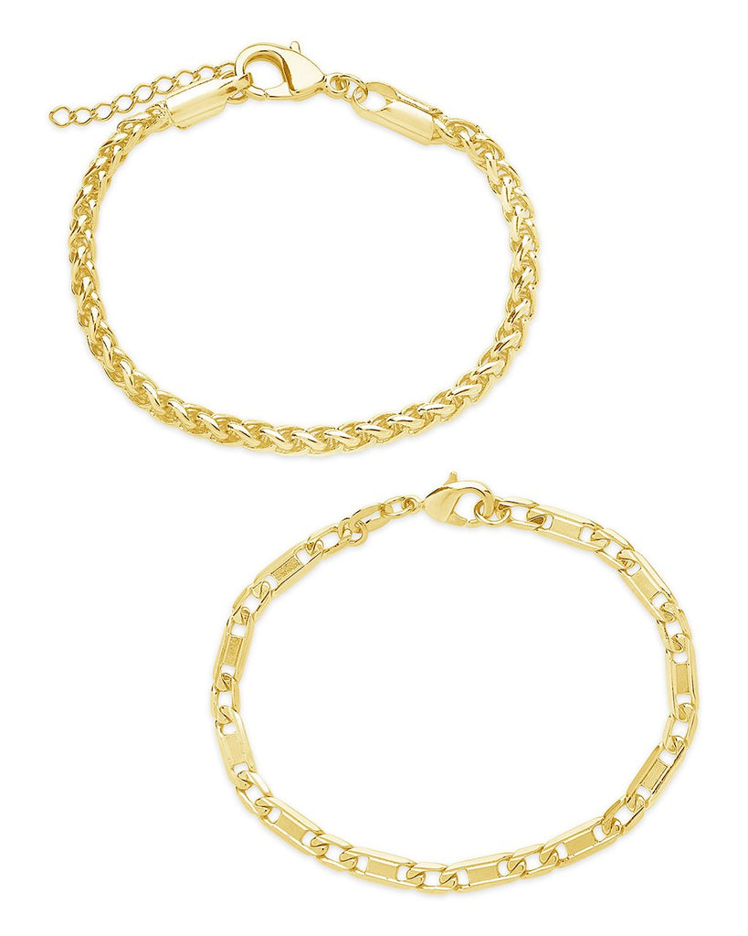 Classic Stacking Bracelet Set of 2 Bracelet Sterling Forever Gold