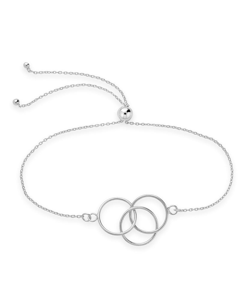 Sterling Silver Interlocking Circles Bolo Bracelet - Sterling Forever