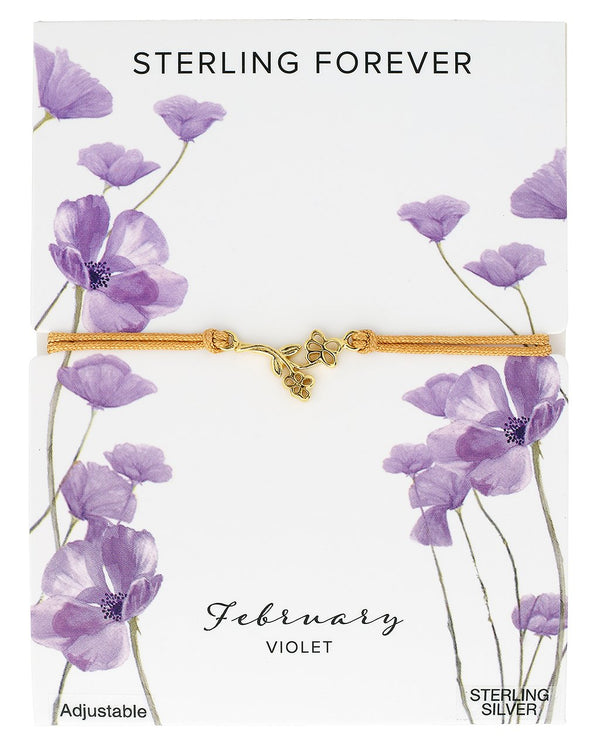Sterling Silver Birth Flower Bolo Bracelet Bracelet Sterling Forever Gold February / Violet