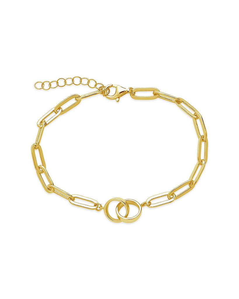 Sterling Silver Interlocking Circles Chain Link Bracelet Bracelet Sterling Forever Gold