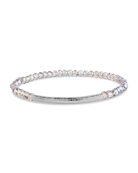 Smokey Beaded Bar Stretch Bracelet - Sterling Forever