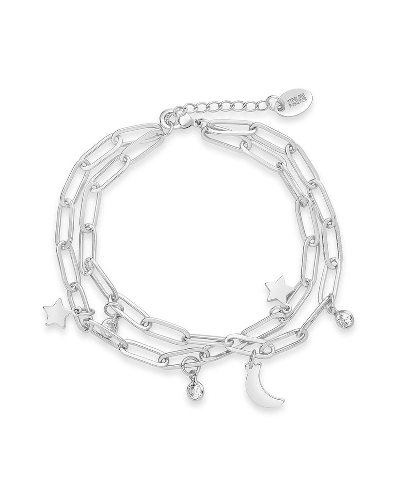 CZ, Moon, & Star Double Chain Bracelet - Sterling Forever