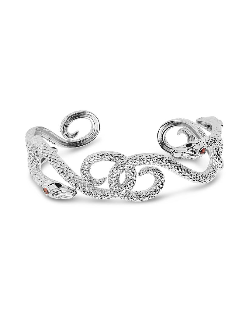 Interlocking Snake Cuff Bracelet Sterling Forever Silver