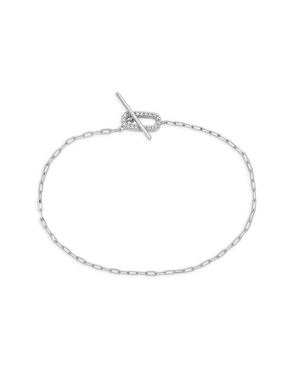 Sterling Silver Linked CZ Toggle Bracelet Bracelet Sterling Forever Silver