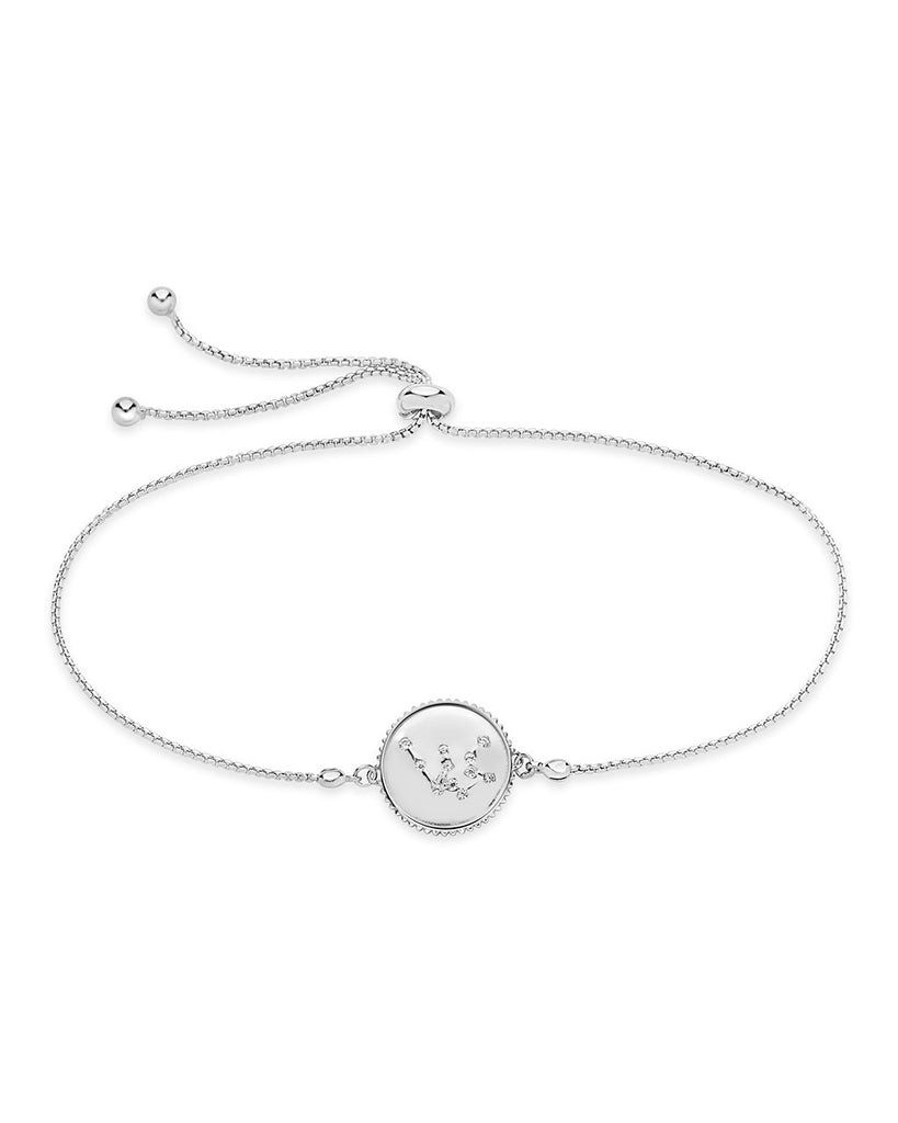 Sterling Silver Constellation Disk Bolo Bracelet Bracelet Sterling Forever Silver Aquarius (Jan 20 - Feb 18)