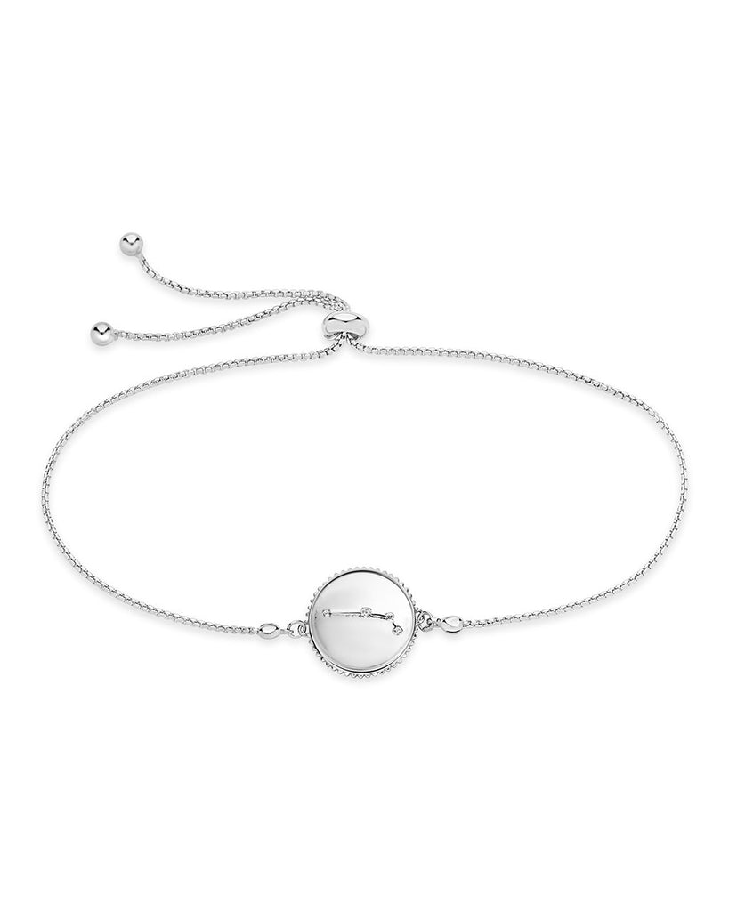 Sterling Silver Constellation Disk Bolo Bracelet Bracelet Sterling Forever Silver Aries (Mar 21 - Apr 19)