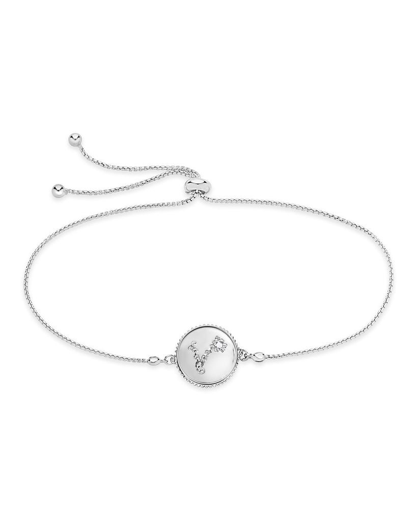 Sterling Silver Constellation Disk Bolo Bracelet Bracelet Sterling Forever Silver Pisces (Feb 19 - Mar 20)