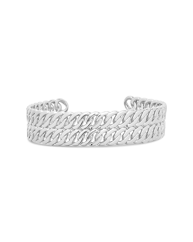 Double Rope Chain Cuff Bracelet Sterling Forever Silver