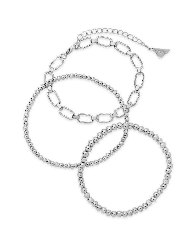 Chain & Bead Bracelet Set of 3 Bracelet Sterling Forever Silver