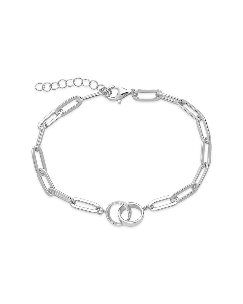 Sterling Silver Interlocking Circles Chain Link Bracelet Bracelet Sterling Forever Silver