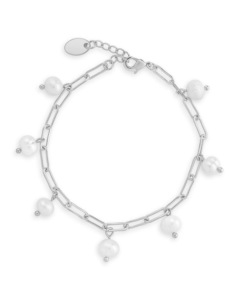 Dangling Pearl Linked Bracelet - Sterling Forever