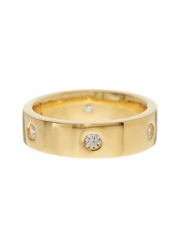 Gold-Tone Classic Station CZ Band Ring - Sterling Forever